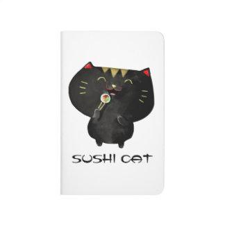 Gato negro lindo del sushi de Kawaii Cuaderno Grapado