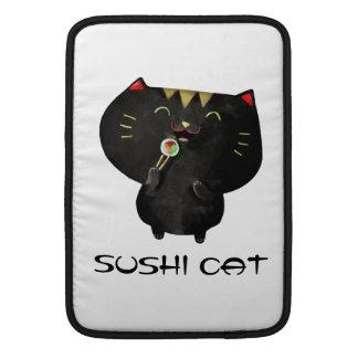 Gato negro lindo del sushi de Kawaii Fundas Macbook Air