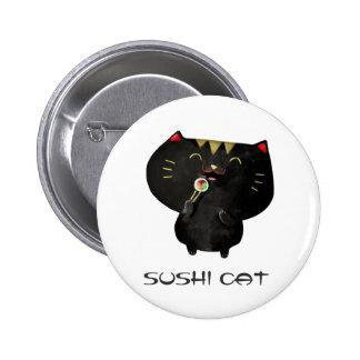 Gato negro lindo del sushi de Kawaii Pins