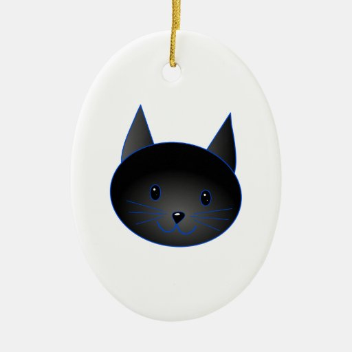 Gato negro lindo. Ejemplo del dibujo animado del Adorno Ovalado De Cerámica