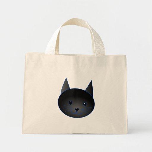 Gato negro lindo. Ejemplo del dibujo animado del g Bolsas De Mano