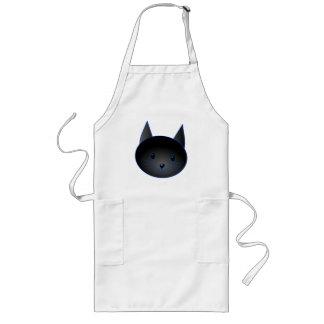 Gato negro lindo. Ejemplo del dibujo animado del g Delantal Largo