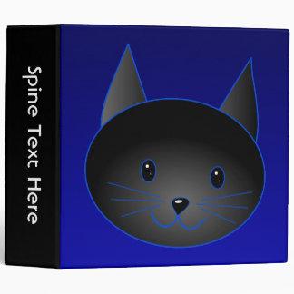 "Gato negro lindo en azul de medianoche profundo carpeta 2"""