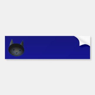 Gato negro lindo en azul de medianoche profundo pegatina para auto
