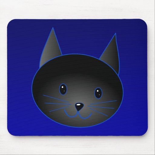 Gato negro lindo en azul de medianoche profundo alfombrilla de raton