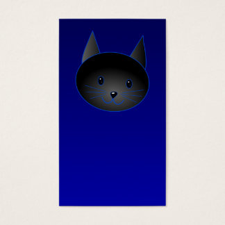 Gato negro lindo en azul de medianoche profundo tarjetas de visita