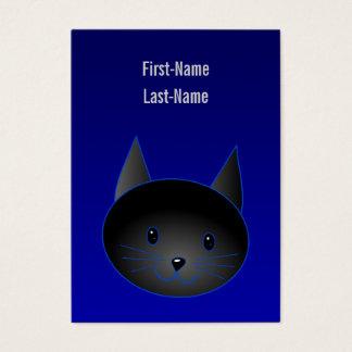 Gato negro lindo en azul de medianoche profundo tarjetas de visita grandes