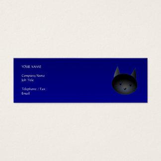 Gato negro lindo en azul de medianoche profundo tarjetas de visita mini
