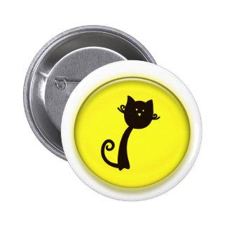 Gato negro lindo en círculo amarillo pins
