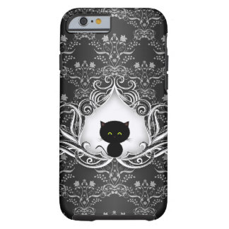 Gato negro lindo en el damasco funda de iPhone 6 tough