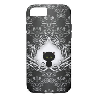 Gato negro lindo en el damasco funda iPhone 7