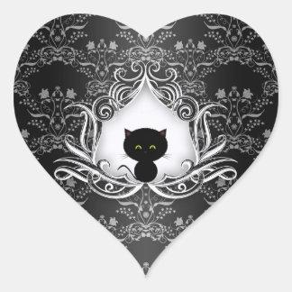 Gato negro lindo en el damasco pegatina de corazon personalizadas