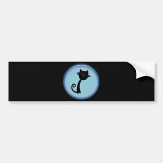 Gato negro lindo en el diseño azul 3D Pegatina Para Auto