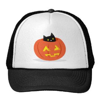 Gato negro lindo en el gorra de Halloween de la
