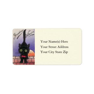 Gato negro lindo en etiqueta de dirección de