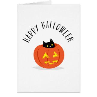 Gato negro lindo en feliz Halloween de la linterna Tarjeton