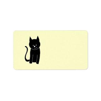 Gato negro lindo etiquetas de dirección