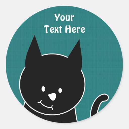 Gato negro lindo etiquetas redondas