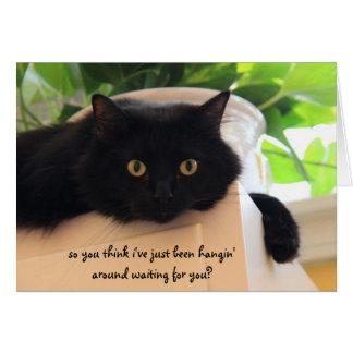 "Gato negro lindo, ""falta divertida que usted"" card tarjetas"