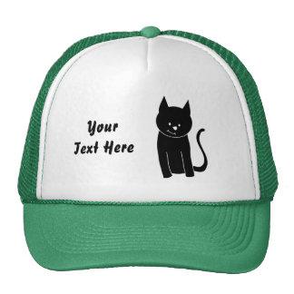 Gato negro lindo gorras