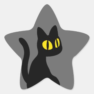 Gato negro lindo calcomanía forma de estrella personalizada
