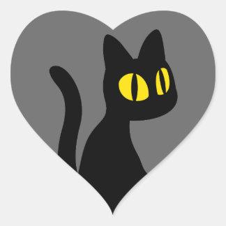 Gato negro lindo colcomanias de corazon personalizadas