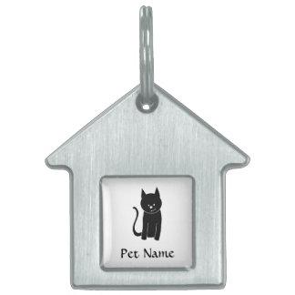 Gato negro lindo placa de mascota