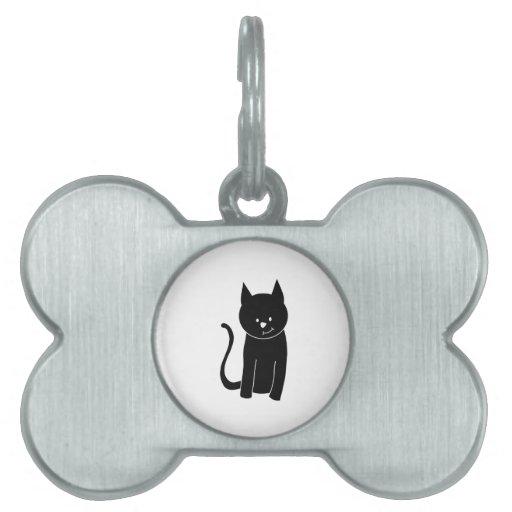 Gato negro lindo placas de mascota