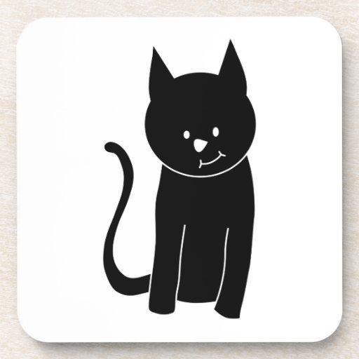 Gato negro lindo posavasos