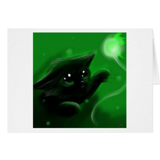 Gato negro lindo tarjeta de felicitación