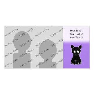 Gato negro lindo tarjeta fotografica