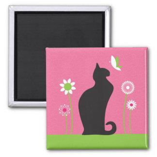 Gato negro liso imán cuadrado