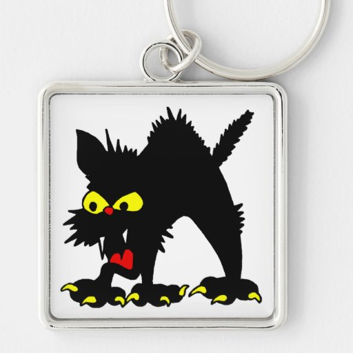 Gato negro llavero cuadrado plateado