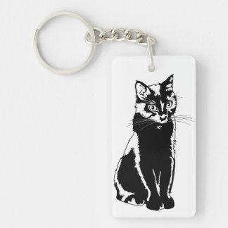 Gato negro llavero rectangular acrílico a doble cara