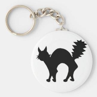 Gato negro llavero redondo tipo pin