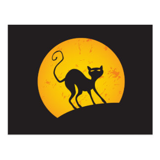 Gato negro - luna amarilla tarjetas postales