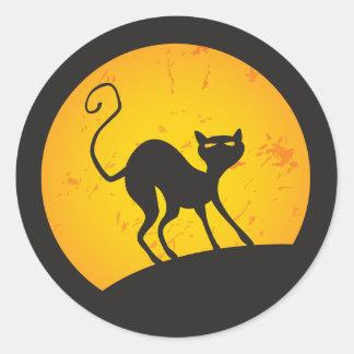 Gato negro - luna amarilla etiquetas redondas