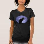 Gato negro, luna azul camiseta