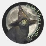 Gato negro mágico etiquetas redondas