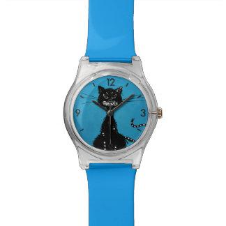 Gato negro malvado desigual azul relojes de mano
