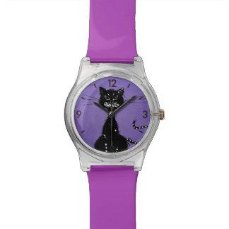 Gato negro malvado desigual púrpura reloj de mano