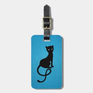 Gato negro malvado gracioso azul personalizado etiqueta de maleta
