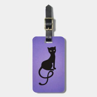 Gato negro malvado gracioso púrpura personalizado etiquetas maleta