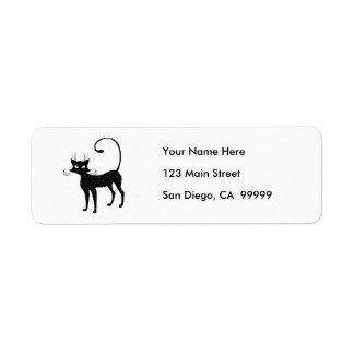 Gato negro manchado elegante etiqueta de remitente