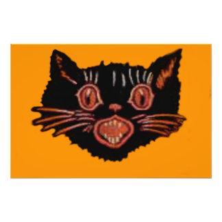 Gato negro Meowing Impresiones Fotograficas