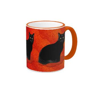 Gato negro misterioso taza de dos colores