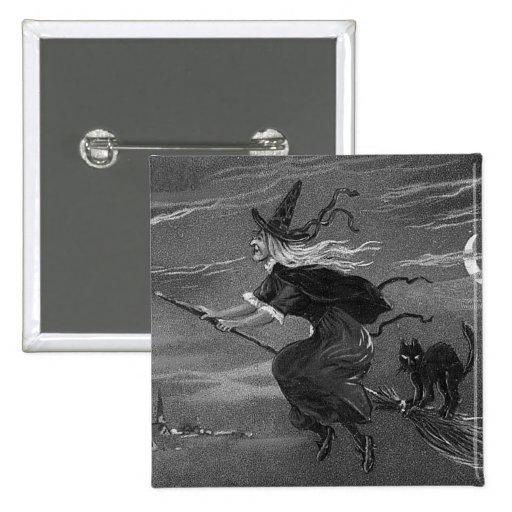 Gato negro monocromático de la escoba de bruja pins