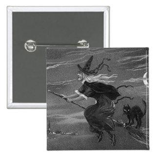 Gato negro monocromático de la escoba de bruja pin cuadrado