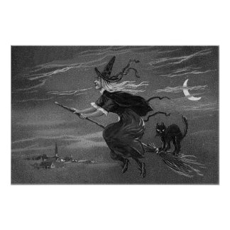 Gato negro monocromático de la escoba de bruja póster
