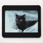 Gato negro Mousepad Tapetes De Raton